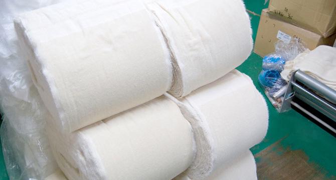 織り上がったタオル
