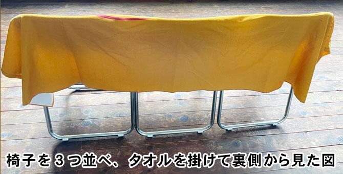 ベンチタオルを掛けて裏側から見た写真